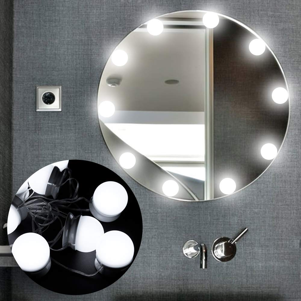 Cómo hacer un tocador de maquillaje con luces fácil. Tocador, espejo, luces LED, taburete y organizador de maquillaje.