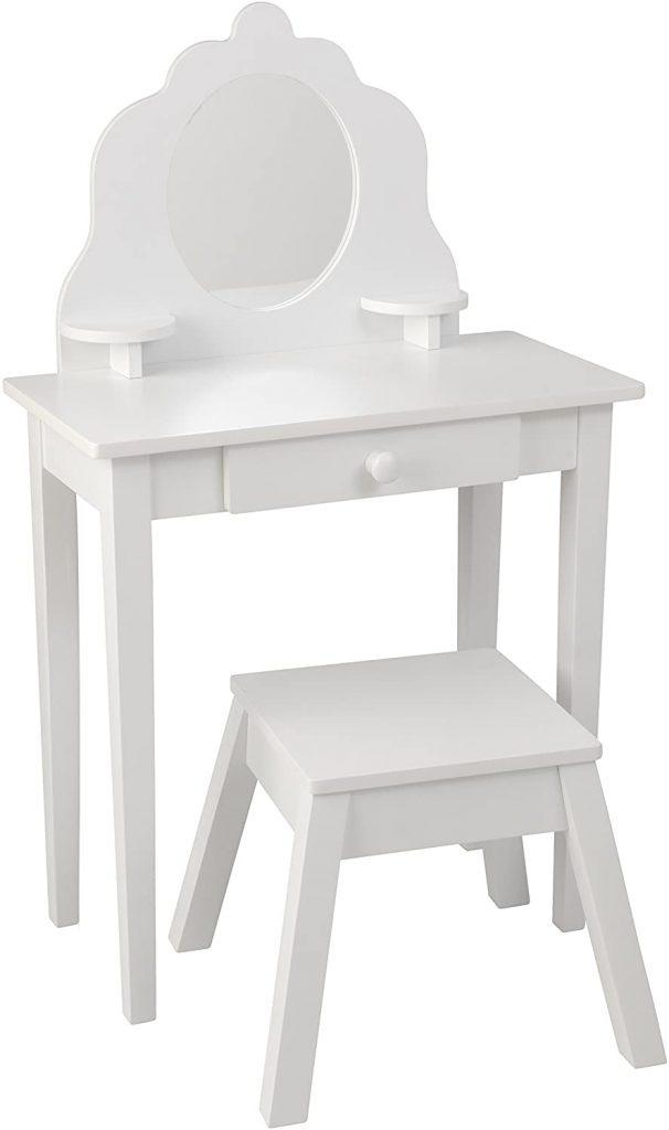 TOCADOR DE MAQUILLAJE PARA NIÑA. Cómo hacer un tocador de maquillaje con luces. Mesa tocador, espejo, luces LED, taburete y organizador de maquillaje.
