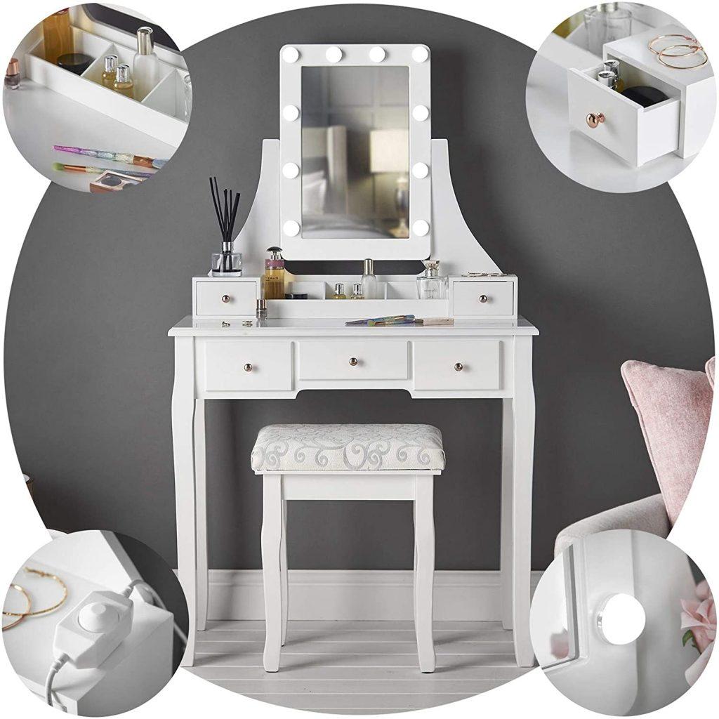 Cómo hacer un tocador de maquillaje con luces. Mesa tocador, espejo, luces LED, taburete y organizador de maquillaje.