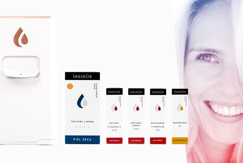 Lesielle cosmética personalizada. Adapta tu crema hidratante, tratamiento, activos a tu piel: ácido hialurónico, retinol, antioxidante, antiedad.