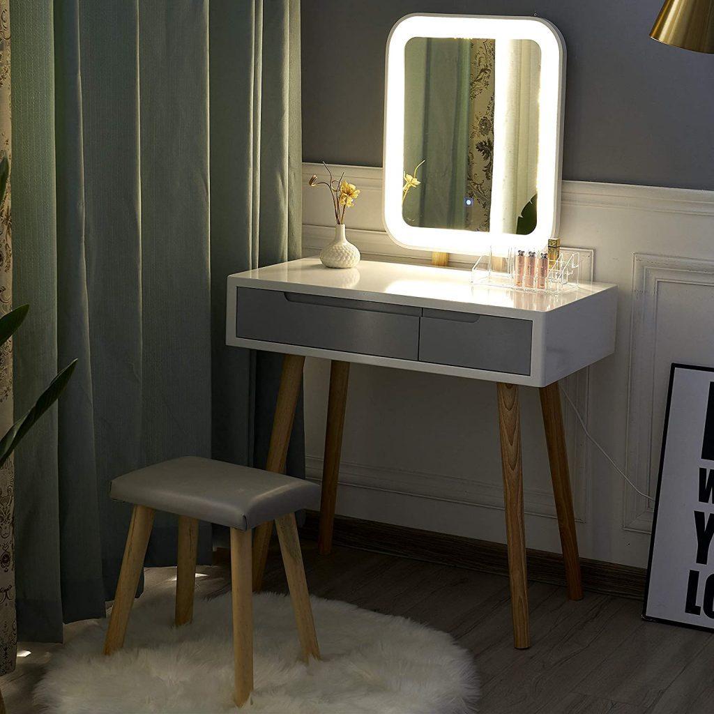 Tocador. Cómo hacer un tocador de maquillaje con luces. Mesa tocador, espejo, luces LED, taburete y organizador de maquillaje.