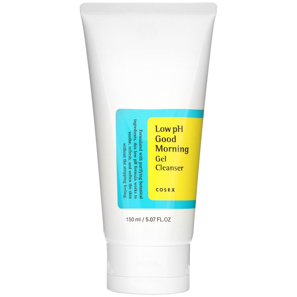 Mis pasos en el cuidado facial de día. Tónico, sérum, crema hidratante, limpiador, productos de belleza, ácido hialurónico, antioxidante. Limpiador facial Low pH Good Morning de COSRX