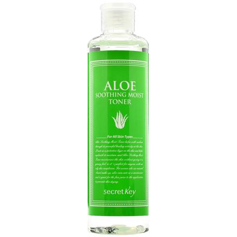 Mis pasos en el cuidado facial de día. Tónico, sérum, crema hidratante, limpiador, productos de belleza, ácido hialurónico, antioxidante. Secret Key Aloe Soothing Moist Toner