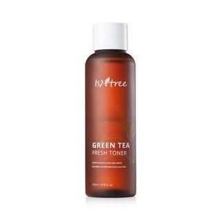 Mis pasos en el cuidado facial de día. Tónico, sérum, crema hidratante, limpiador, productos de belleza, ácido hialurónico, antioxidante. Instree Green Tea Fresh Toner