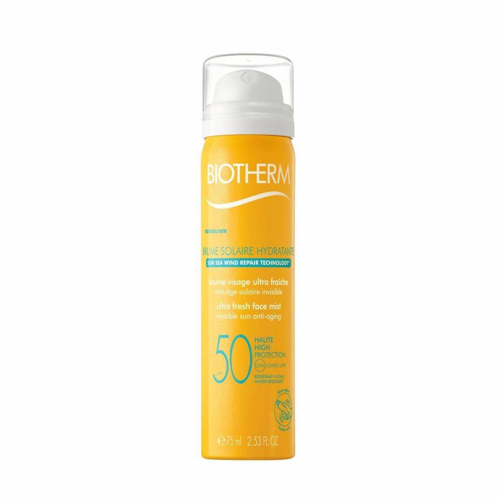 Biotherm Brume Solaire Hydratante El mejor protector solar facial. Crema de sol SPF 50 anti rayos UVA UVB resistente al agua. Protectores solares faciales reaplicar maquillaje
