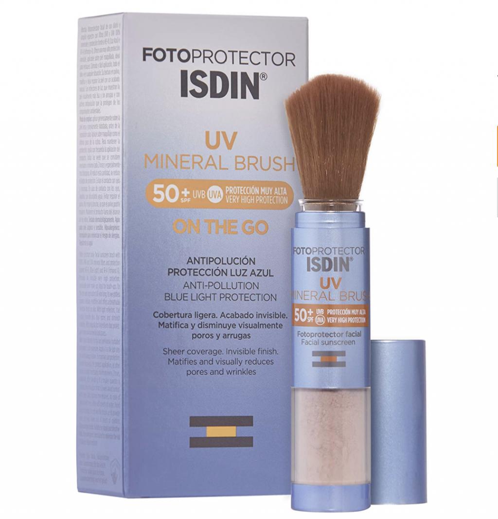 El mejor protector solar facial. Crema de sol SPF 50 anti rayos UVA UVB resistente al agua. Protectores solares faciales reaplicar maquillaje Fotoprotector Isdin mineral brush
