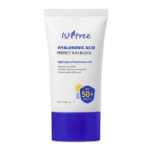 El mejor protector solar facial. Crema de sol SPF 50 anti rayos UVA UVB resistente al agua. Protectores solares faciales reaplicar maquillaje Isntree Hyaluronic Acid Perfect Sun Block